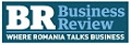 Business Review alb pe albastru